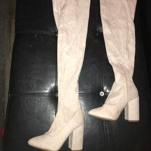 Thigh high ASOS cream heels